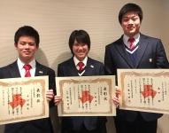 左より、空手道部、木村優希、平野海音、レスリング、島田樹。